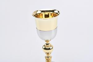 Calice satinato coppa dorata cm. 22