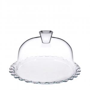 Piatto torta in vetro con cupola in vetro