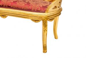 Divanetto Ovale Oro tessuto Damascato Rosso