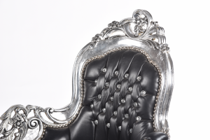 Dormeuse Silver Ecopelle Nera con Gemme