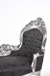 Dormeuse Silver Tessuto Damasco Nero con Gemme
