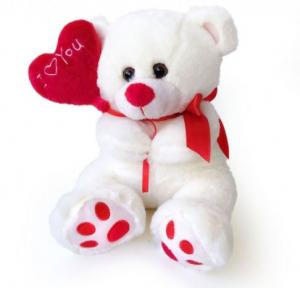 Peluche Orso con palloncino a cuore Ti Amo dim. 25 colore bianco