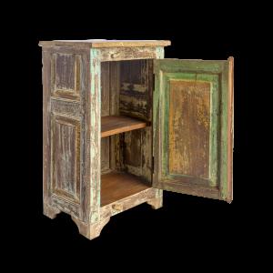 Comodino in legno di teak con antina recuperata vecchia finestra