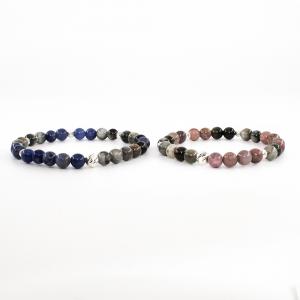 Bracciale elastico in pietre dure, acciaio e argento KUPIDO - Tristano e Isotta