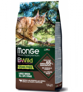 Monge Cat - Bwild Grain Free - Large Breed All Life Stage - Bufalo con Patate e Lenticchie - 1.5kg