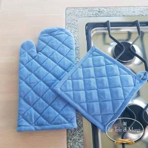 Guanto forno rombi blu