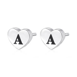 Orecchini CLICK in acciaio, lettera A, con smalto