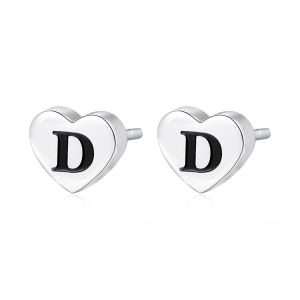 Orecchini CLICK in acciaio, lettera D, con smalto
