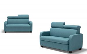 ONTRA - Piccolo divano letto in tessuto antimacchia e antigraffio con poggiatesta regolabili
