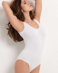 Body da donna spalla larga con scollo tondo in morbido cotone