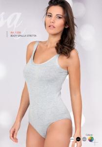 Body donna in viscosa spalla stretta con bordo piatto EGI