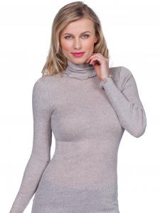 Maglia donna dolcevita manica lunga lana e seta a costina EGI