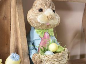 Coppia coniglietti gambelunghe in fibra naturale con ovetti