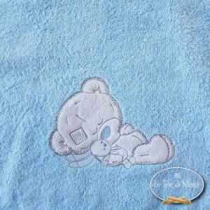 Accappatoio poncho per bambini ricamato azzurro