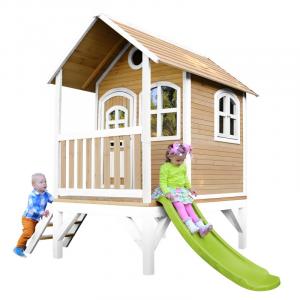 Casetta per Bambini in Legno con Portico Scivolo e Scaletta TOM Brown/white