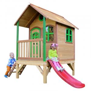 Casetta per Bambini in Legno con Portico Scivolo e Scaletta TOM