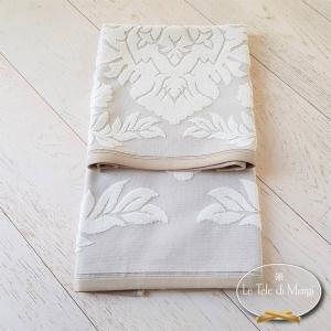 Asciugamani cotone e lino rosone