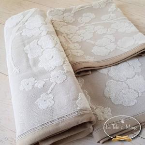 Asciugamani cotone e lino fiori di pesco