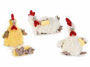 Set 3 galline campagnole di peluche artificiale da appoggiare
