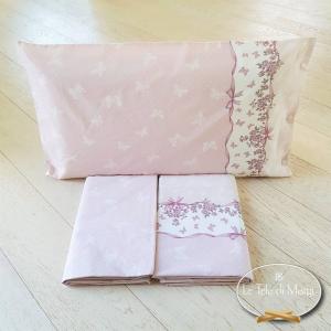 Completo Lenzuola Farfalle rosa