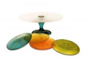 Servizio 5 pezzi dessert in vetro multicolore cm.diam.28