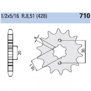 CP710Z16 PIGNONE P. 428 Z-16 MOTOCICLI CAGIVA SST 125 1980>1990
