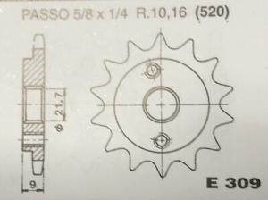 CPE309Z14 PIGNONE P. 520 Z-14 MOTOCICLI HONDA XR600R 1991