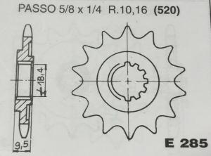 CPE285Z14 PIGNONE TRASMISSIONE MOTOCICLI HONDA CROSS CR250R 1986/87 P. 520 DENTI 14