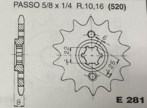 CPE281Z15 PIGNONE TRASMISSIONE MOTOCICLI HONDA XL600R PASSO 520 DENTI 15