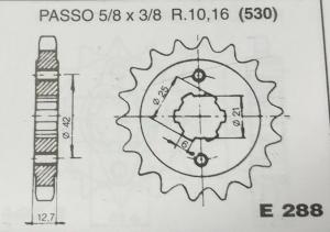 CP288Z14 PIGNONE TRASMISSIONE MOTOCICLI HONDA CB 500/550/750 FOUR PASSO 530 DENTI 14