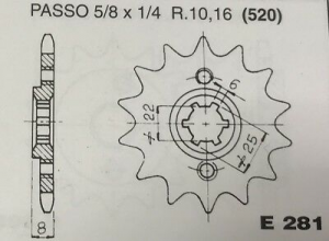 CPE281Z14 PIGNONE TRASMISSIONE MOTOCICLI HONDA XL600R PASSO 520 DENTI 14