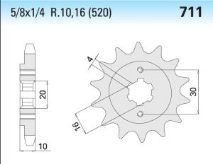 CP566Z14 PIGNONE TRASMISSIONE MOTOCICLI CAGIVA PASSO 520 DENTI 14
