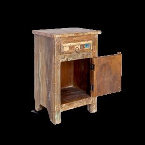 Comodino in legno di teak recuperato