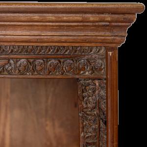 Libreria in legno di teak massello con cornice recuperata da vecchi portali indiani