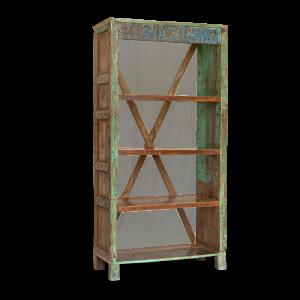 Libreria in legno di teak recuperato vecchie ante con frame blu