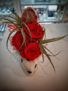 Scarpa 《tacco15》bianca pois con rose stabilizzate
