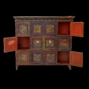 Credenza tibetana in legno massello dipinta a mano