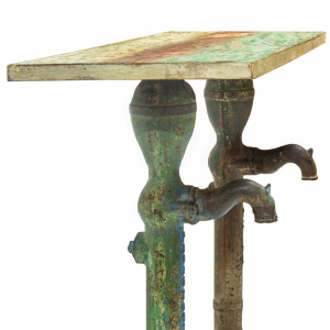 Consolle in legno di teak con recupero delle pompe d'acqua del deserto del Thar