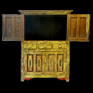 Credenza / Armadio in legno di teak recuperato con ante e cassetti