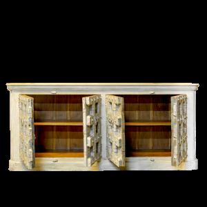 Credenza bassa in legno di palissandro con ante recuperate da vecchi portali in legno di teak