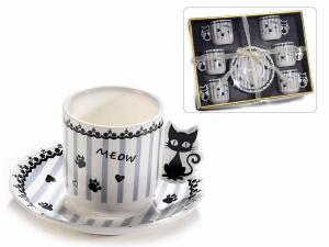 Scatola 6 tazzine e piattini in porcellana con decorazione gatti