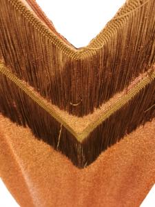 Abito donna |smanicato | in lurex color bruciato |dettaglio frange sul davanti | made in Italy