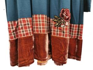 Abito donna |in magliacarta da zucchero| con inserti scozzesi e velluto |made in Italy