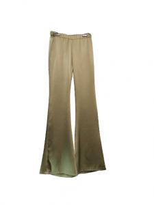Pantalone donna |in raso verde militare |con elastico in vita | finale a trombetta