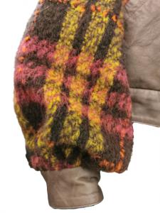 Giubbino donna |in pelle , stoffa e pelliccia |dettagli scozzesi fantasia |collo in pelo fuxia |Made in Italy