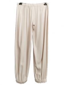Pantalone donna cargo| in cotone color ghiaccio |senza tasche |elastico in vita e sul fondo