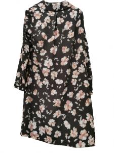 Abito camicia donna   viscosa   fantasia floreale   sfondo nero   manica lunga   collo a camicia   Made in Italy