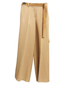Pantalone donna beige largo | cintura in vita |tasche oblique |made in Italy