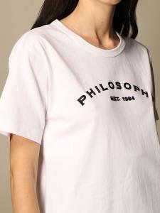 T-shirt di cotone con logo philosophy di lorenzo serafini