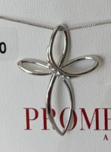Croci stilizzate promesse gioielli in oro bianco con dimanti